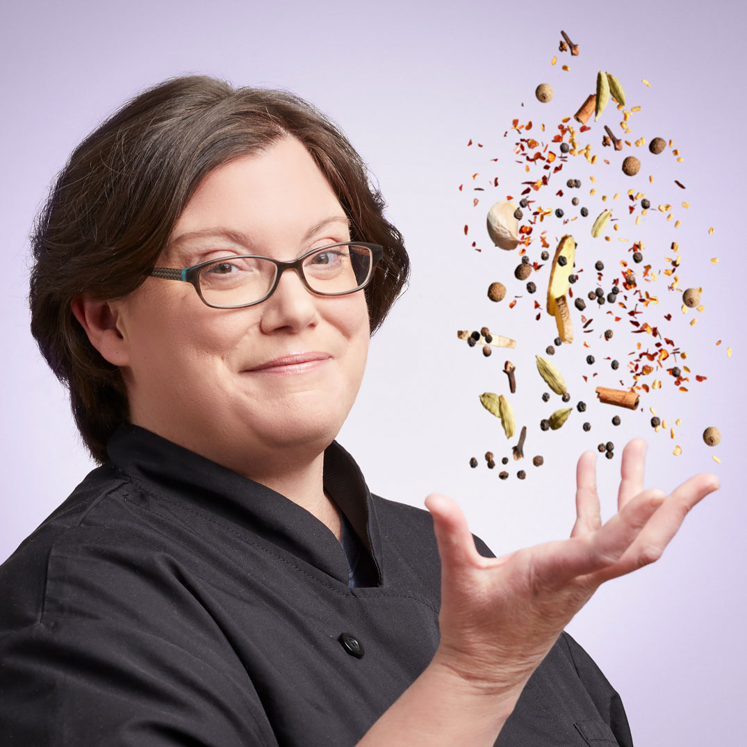 Kristin tossing spices