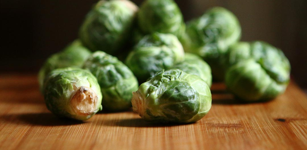 brussels sprouts on a wooden table