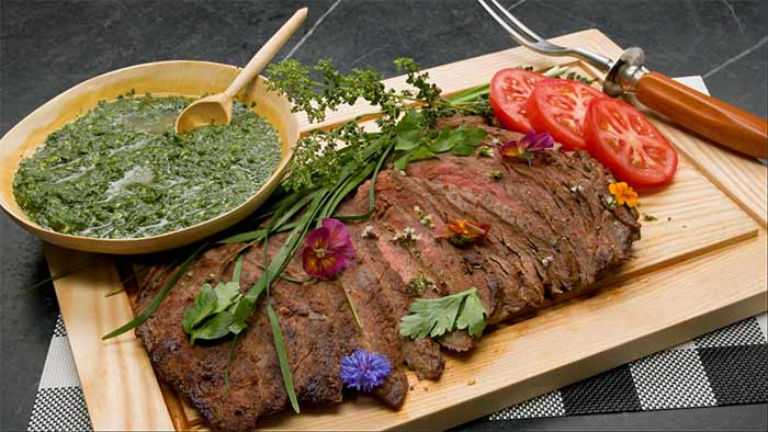 Berbere Spiced Flank Steak with Chimichurri sauce